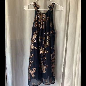 Navy with rose gold decay dress